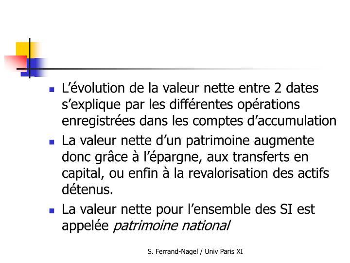 L'évolution de la valeur nette entre 2 dates s'explique par les différentes opérations enregistrées dans les comptes d'accumulation