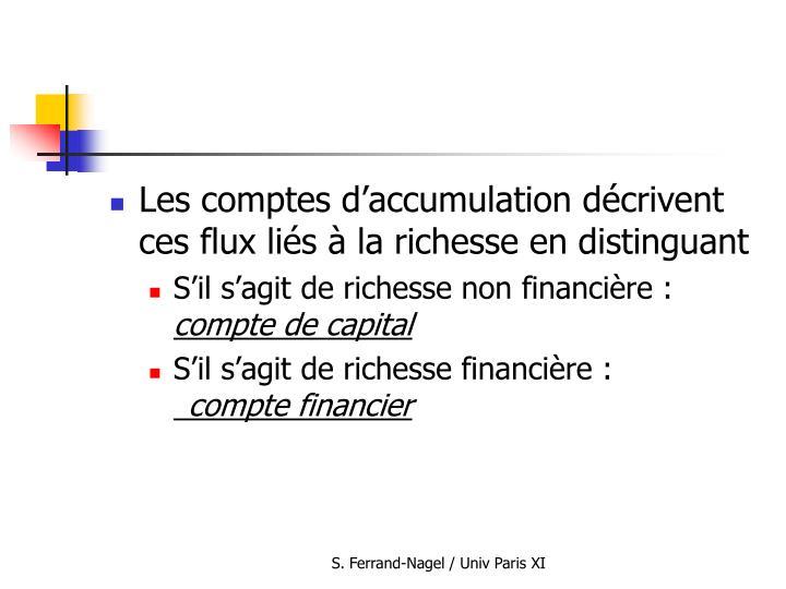Les comptes d'accumulation décrivent ces flux liés à la richesse en distinguant