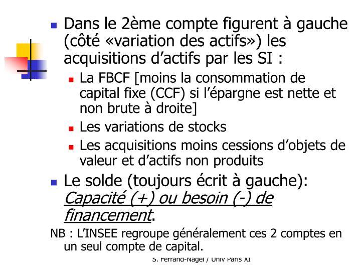 Dans le 2ème compte figurent à gauche (côté «variation des actifs») les acquisitions d'actifs par les SI :