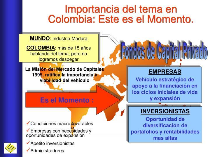Importancia del tema en Colombia: Este es el Momento.