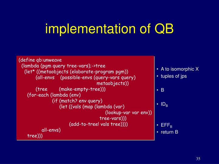implementation of QB