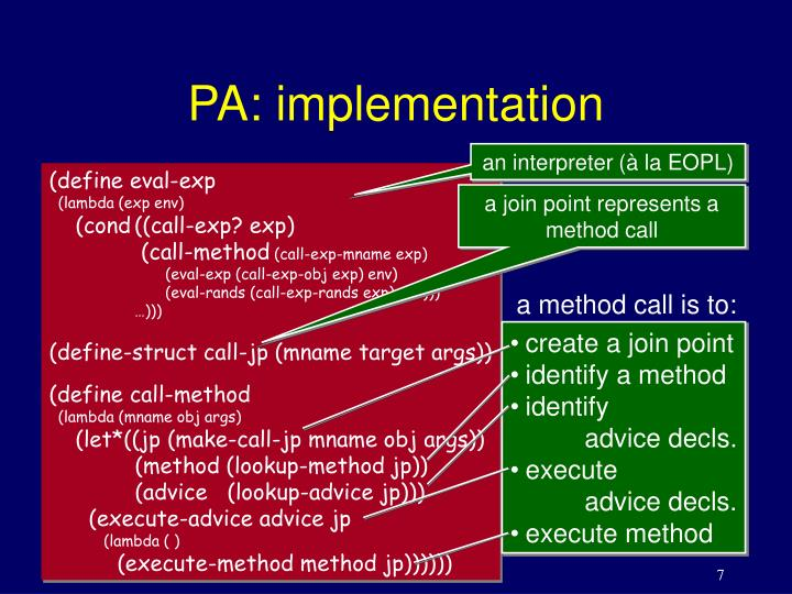 PA: implementation