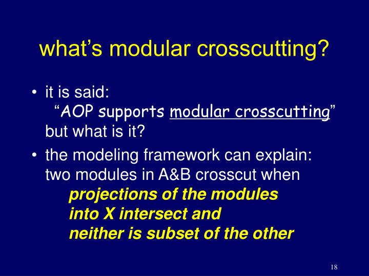 what's modular crosscutting?