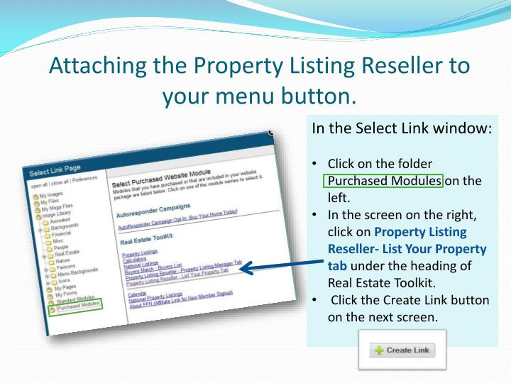 Attaching the Property Listing Reseller to your menu button.
