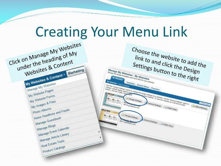 Creating Your Menu Link