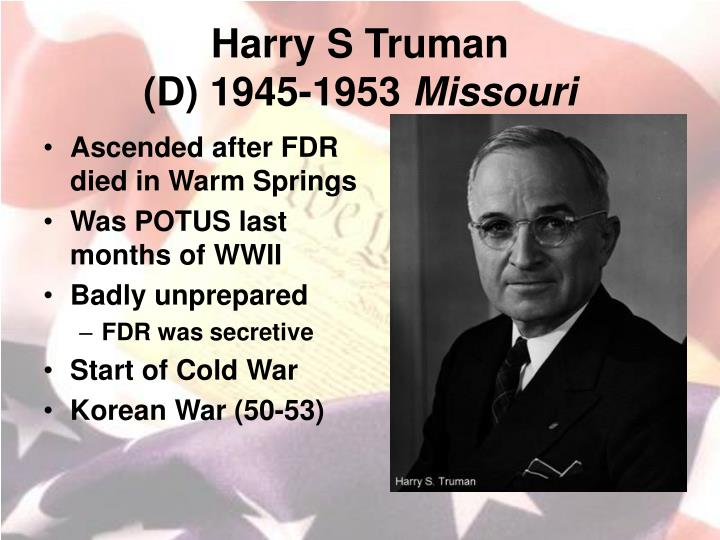 Harry s truman d 1945 1953 missouri