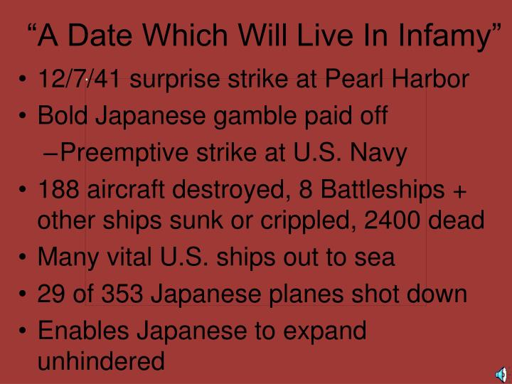 """A Date Which Will Live In Infamy"""
