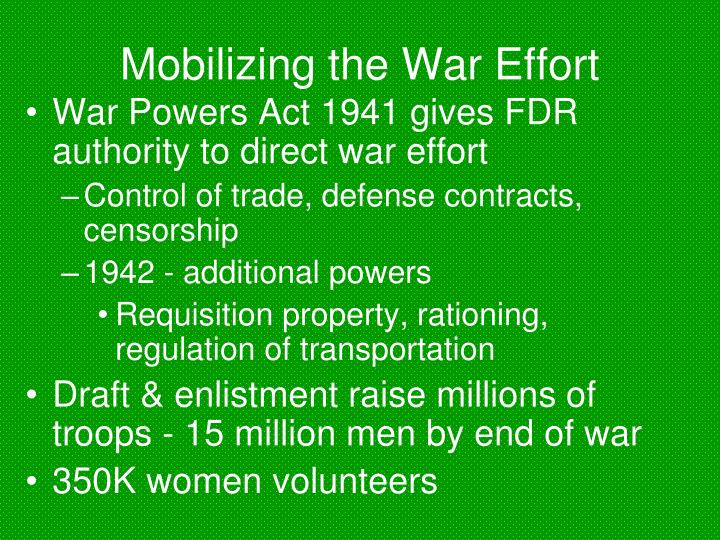 Mobilizing the War Effort