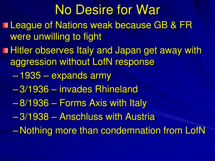 No Desire for War