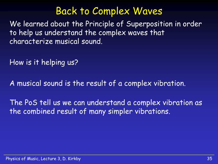 Back to Complex Waves