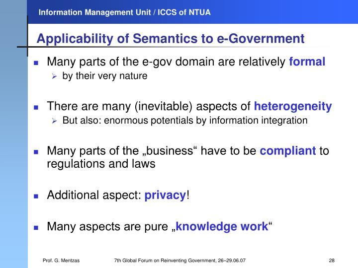 Applicability of Semantics to e-Government