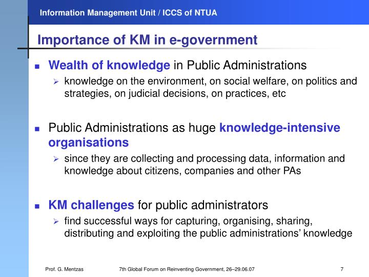 Importance of KM in e-government