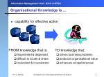 organisational knowledge is
