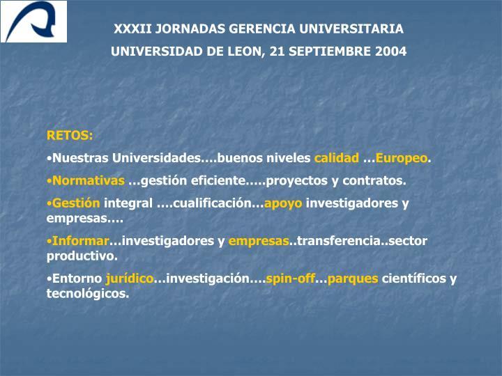 XXXII JORNADAS GERENCIA UNIVERSITARIA