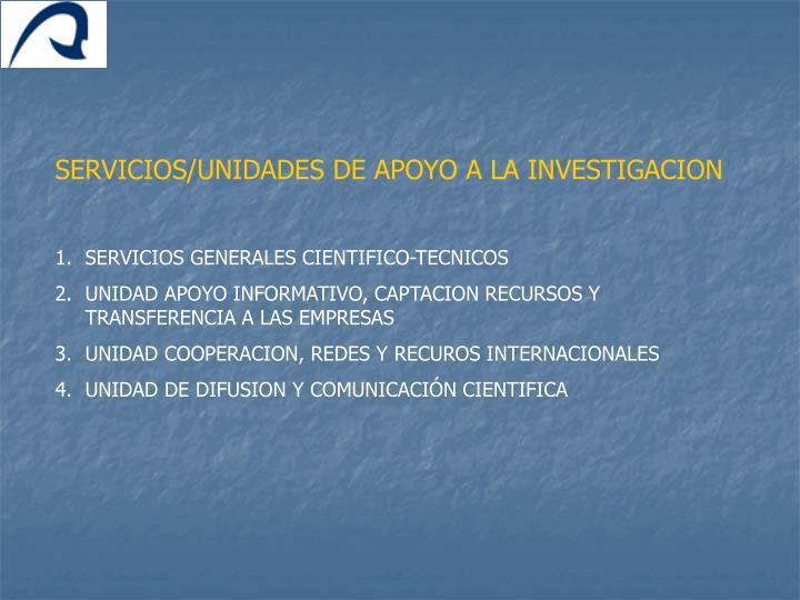 SERVICIOS/UNIDADES DE APOYO A LA INVESTIGACION