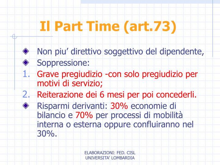 Il Part Time (art.73)