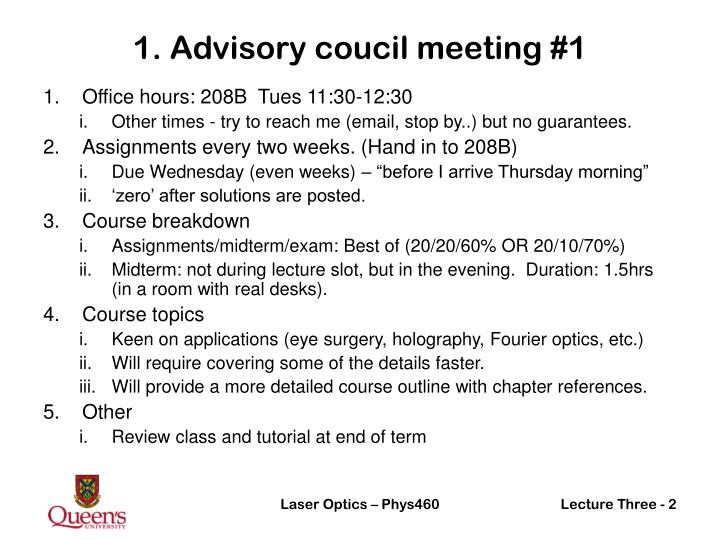 1. Advisory coucil meeting #1