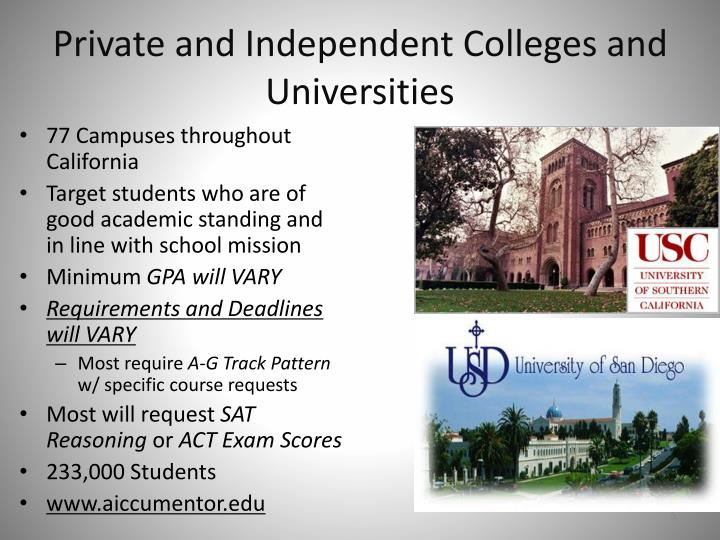 Private and Independent Colleges and Universities