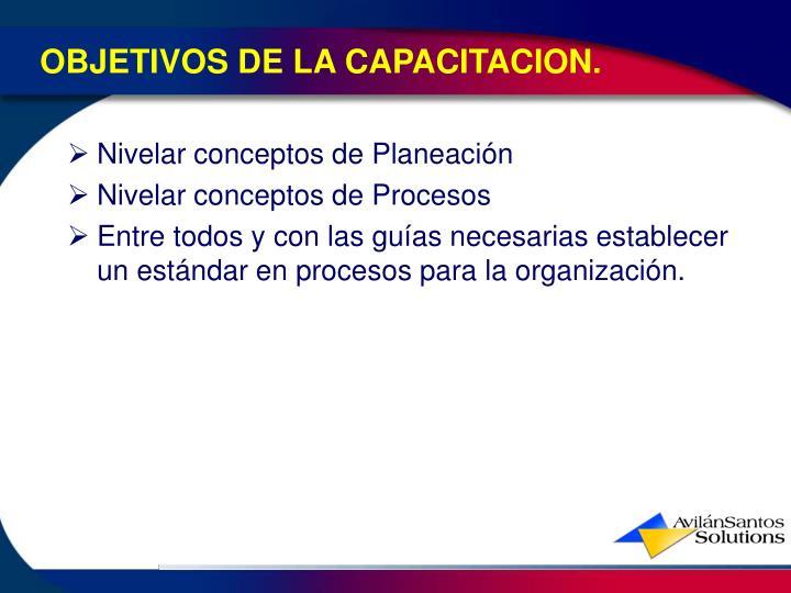 OBJETIVOS DE LA CAPACITACION.