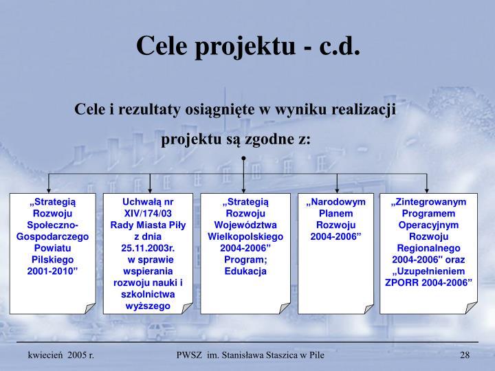 Cele projektu – c.d.