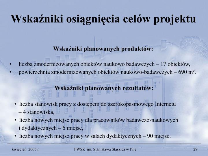 Wskaźniki osiągnięcia celów projektu