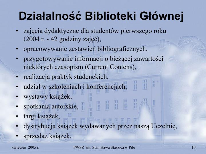 Działalność Biblioteki Głównej
