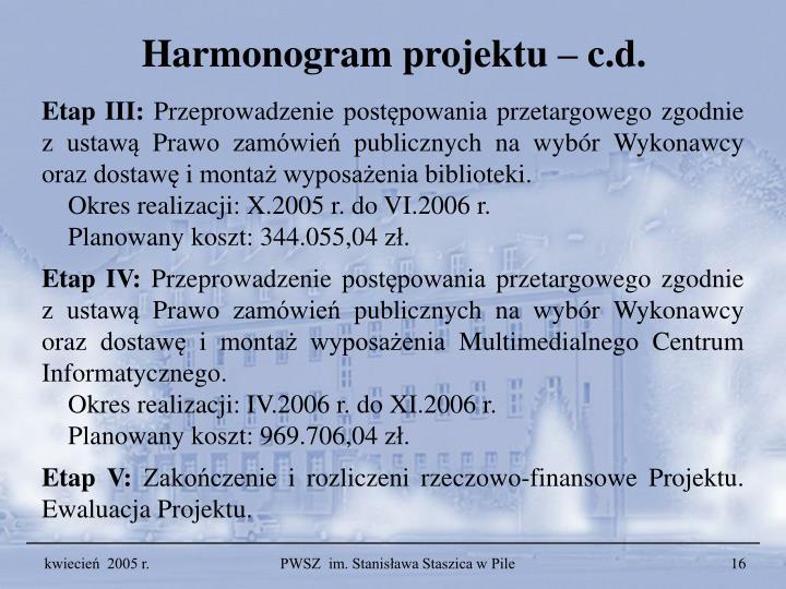 Harmonogram projektu – c.d.