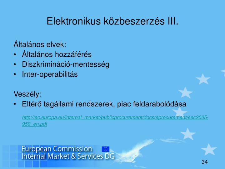 Elektronikus közbeszerzés III.