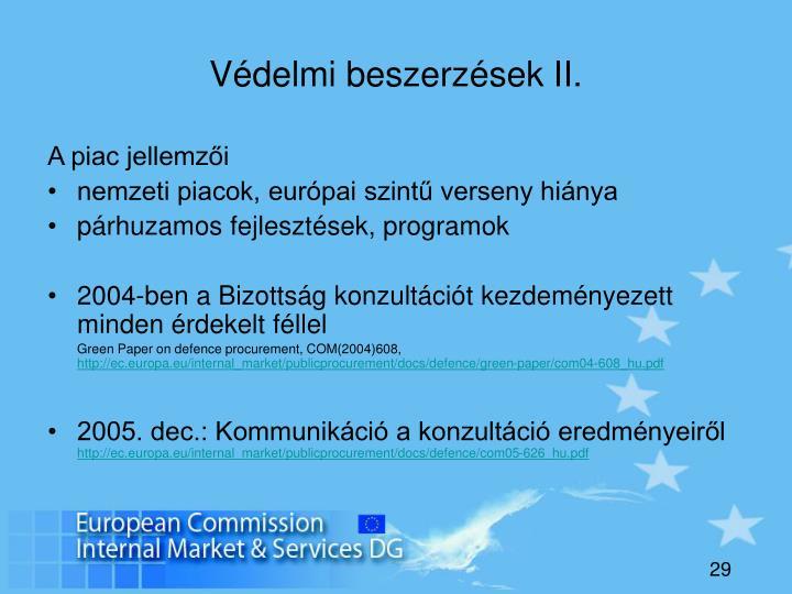 Védelmi beszerzések II.