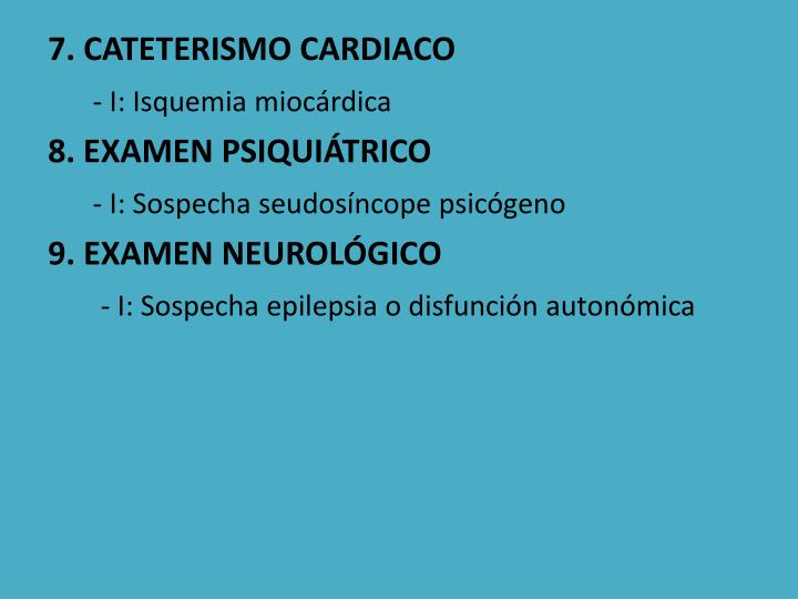 7. CATETERISMO CARDIACO