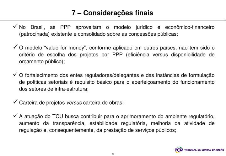 7 – Considerações finais