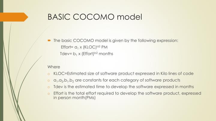 BASIC COCOMO model