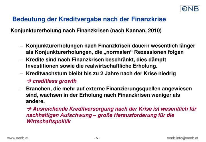 Bedeutung der Kreditvergabe nach der Finanzkrise