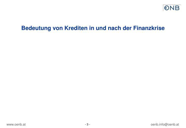 Bedeutung von Krediten in und nach der Finanzkrise
