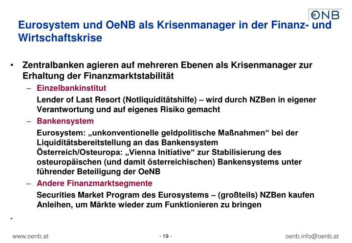 Eurosystem und OeNB als Krisenmanager in der Finanz- und Wirtschaftskrise