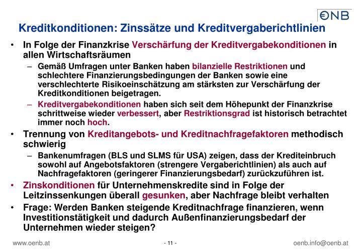 Kreditkonditionen: Zinssätze und Kreditvergaberichtlinien