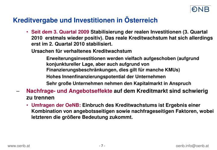Kreditvergabe und Investitionen in Österreich