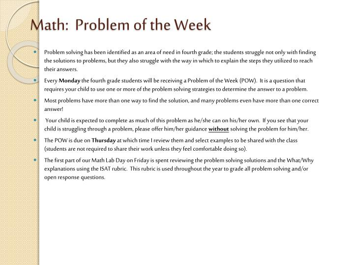 Math:  Problem of the Week