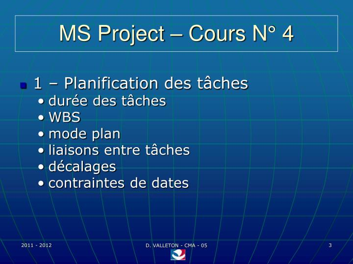 Ms project cours n 4