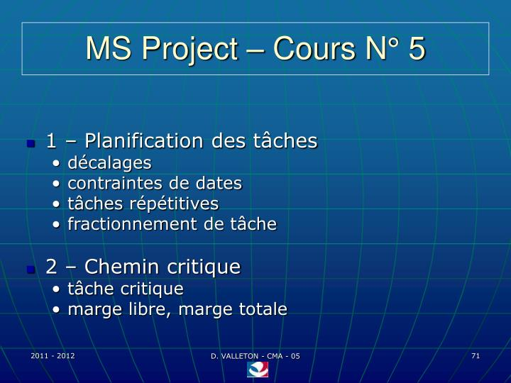 MS Project – Cours N° 5