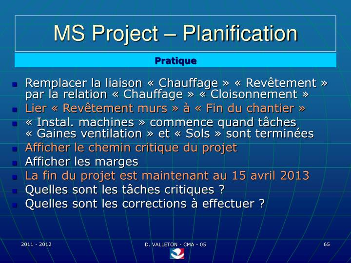 MS Project – Planification