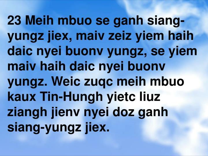 23 Meih mbuo se ganh siang-yungz jiex, maiv zeiz yiem haih daic nyei buonv yungz, se yiem maiv haih daic nyei buonv yungz. Weic zuqc meih mbuo kaux Tin-Hungh yietc liuz ziangh jienv nyei doz ganh siang-yungz jiex.