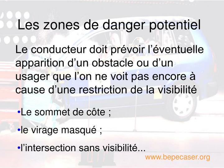 Les zones de danger potentiel