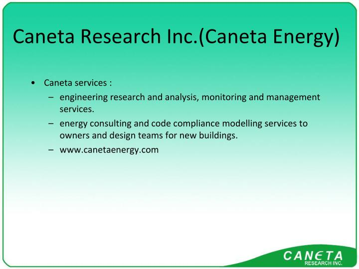 Caneta research inc caneta energy