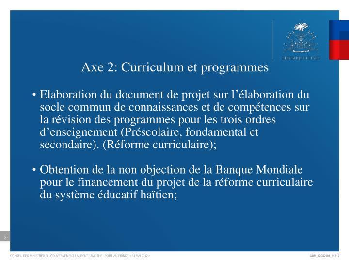 Axe 2: Curriculum et programmes