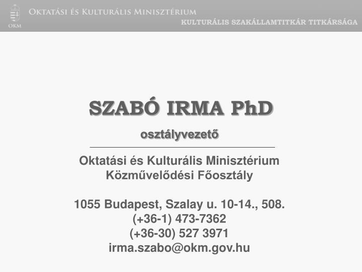 KULTURÁLIS SZAKÁLLAMTITKÁR TITKÁRSÁGA