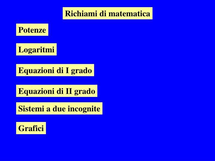 Richiami di matematica