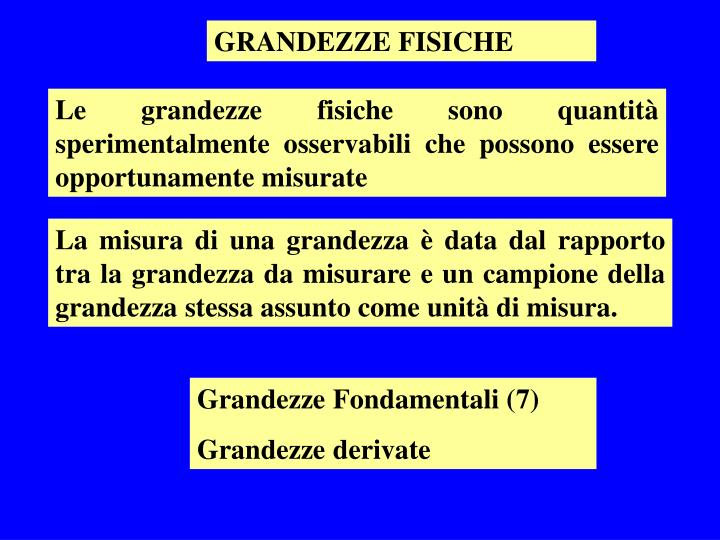 GRANDEZZE FISICHE
