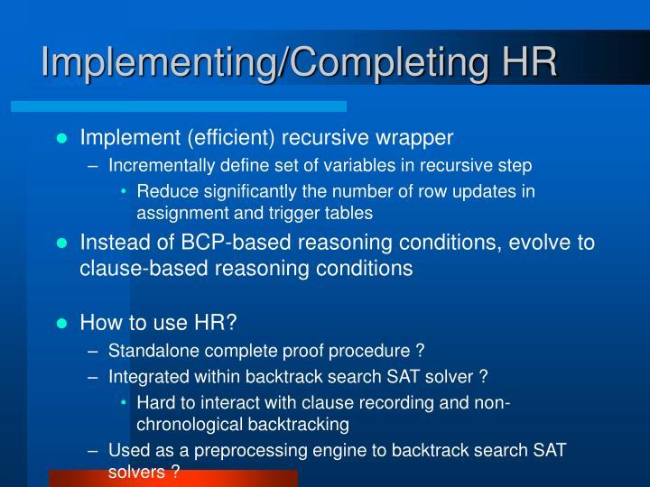 Implementing/Completing HR