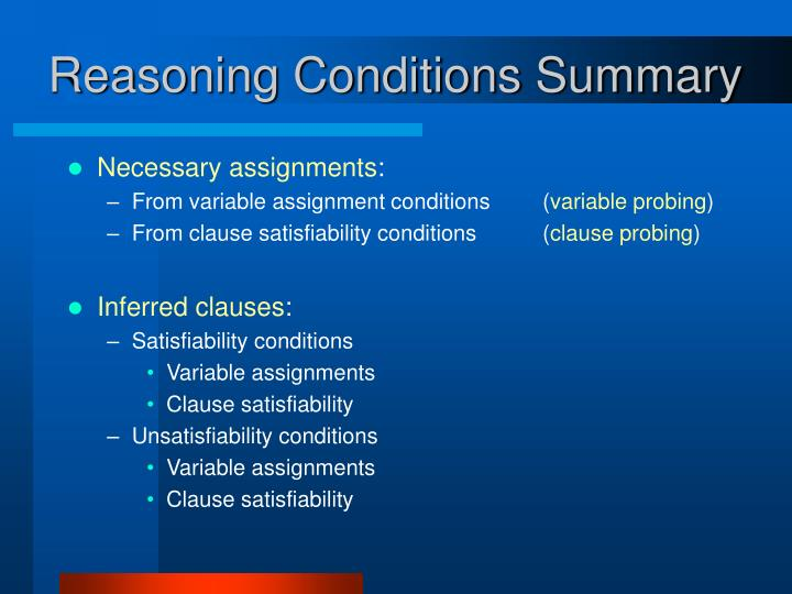 Reasoning Conditions Summary